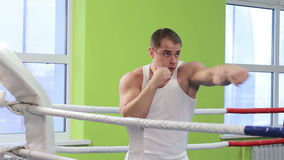 Boxing classes. Two men are working out blows in the ring stock footage