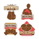 Boxing club colorful logo label set on white Royalty Free Stock Image