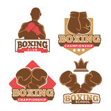 Boxing club colorful logotypes set isolated on white Stock Photo