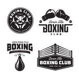 Boxing club labels set. Vector vintage illustration. Boxing club labels emblems badges set. Boxing related design elements for prints, logos, posters. Vector Royalty Free Stock Image