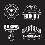 Boxing club labels set. Vector vintage illustration. Boxing club labels emblems badges set. Boxing related design elements for prints, logos, posters. Vector Stock Photography