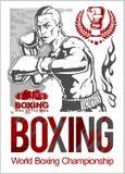 Boxing Club Logo, Emblem, Label, Badge, T-Shirt Design. Royalty Free Stock Photos