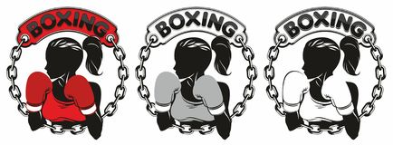 Boxing Club Logo. Girl in boxing gloves Royalty Free Stock Photography