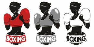 Boxing Club Logo. Girl in boxing gloves royalty free illustration