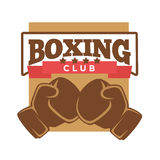 Boxing club logo label with two brown gloves. Boxing club logo label with two special brown gloves against square with inscription isolated on white. Vector Stock Image