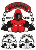 Boxing Club Logo. Man in boxing gloves Stock Photos