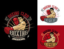 Boxing Club Logo Set. Boxing Emblem, Label, Badge, T-Shirt Design. Boxing Club T Shirt. Fight Brutal Theme. T Shirt Hoodie. Boxing Club Training. Boxing Club Stock Image