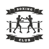 Boxing Club Logo. Two men are boxing in the ring. On the ribbon shows Boxing Club Royalty Free Stock Image