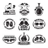Boxing club, or mma fighting labels. Monochrome vector illustrations. Box badge and emblem with fighter Stock Photography