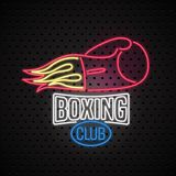 Boxing club neon sign for vector logo, icon. Design element with boxing gloves Stock Photos