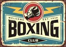 Boxing club retro tin sign template design royalty free illustration