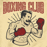 Boxing club. Vintage style boxer on grunge background. Design element for poster, t-shirt, emblem. Vector illustration. stock illustration