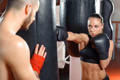 Boxing coach trains his team Royalty Free Stock Photo