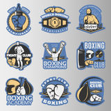 Boxing Colored Emblems. Of championships and fight clubs with  sports equipment on grey background  vector illustration Stock Photo