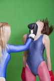Boxing competition. Two females wear gymnastic leotards in a boxing competition Stock Photography