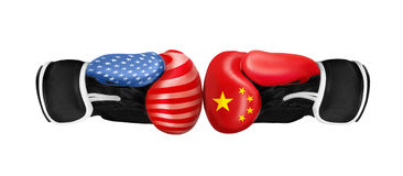 Boxing concept on different backgrounds. Boxing gloves on white background - USA vs RUSSIA Royalty Free Stock Photography