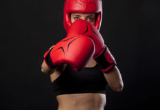 Boxing concept with female boxer Royalty Free Stock Photo