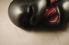 boxing concept with gray gloves/boxing concept with gray gloves on a stone stock image