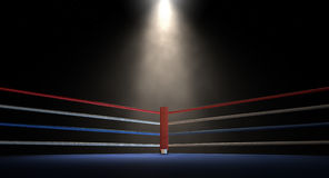 Boxing Corner Spotlit Dark Royalty Free Stock Photos