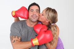 Boxing Couple Stock Image