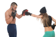 Boxing Couple Against White Background Royalty Free Stock Photography