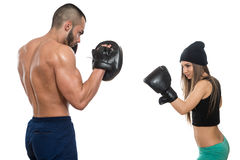 Boxing Couple Against White Background Stock Image