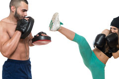 Boxing Couple Against White Background Stock Photography