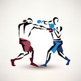 Boxing couple, vector silhouette, stylized sketch Stock Photography