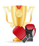 Boxing cup winner gold stock vector illustration Stock Photo