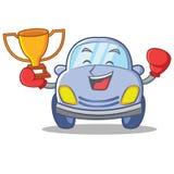 Boxing cute car character cartoon Stock Photos