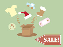 Boxing Day. Illustration of many stuff out of the box Stock Images
