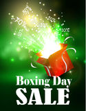 Boxing day background with open red box Royalty Free Stock Photography