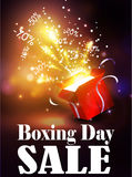 Boxing day background with open red box Stock Photography