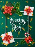 Boxing day banner design. Lettering calligraphy. New Year holidays, traditions. Gift boxes top view. Festive Christmas. Vector illustration Royalty Free Stock Photography