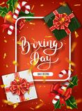 Boxing day banner design. Lettering calligraphy. New Year holidays, traditions. Gift boxes top view. Festive Christmas. Vector illustration Royalty Free Stock Photo