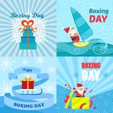 Boxing day banner set, flat style vector illustration