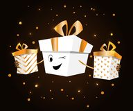 Boxing day. Design with cartoon boxes. Vector illustration for banner poster and flyer.  greeting card in flat design vector illustration