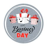 Boxing day. Design with cartoon boxes. Vector illustration for banner poster and flyer.  greeting card in flat design royalty free illustration