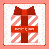 Boxing Day. Holiday in the UK and the British Commonwealth. 26 December. Gifts. Red gift box. Grunge texture stock illustration