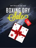Boxing Day sale banner or poster design, 70% discount offer with. Gift box on black texture background stock illustration