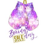 Boxing day sale concept with purple gloves. And fireworks pattern on white background Royalty Free Stock Images