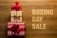 Boxing day Sale concept on wooden background,. View from above Royalty Free Stock Photos
