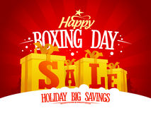 Boxing day sale design concept with golden gift boxes Royalty Free Stock Photography