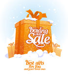 Boxing day sale design with gift box. Stock Image