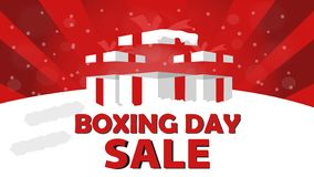 Boxing Day Sale Design with Gift Box, Snowfall, and Bokeh Effect. royalty free stock photos