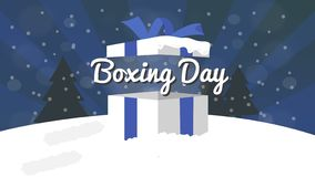 Boxing Day Sale Design with Gift Box, Snowfall, and Bokeh Effect. stock image