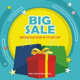 Boxing Day Sale Design with gift boxes, Paper bag, and snowy landscape vector illustration