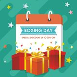 Boxing Day Sale Design with gift boxes, Paper bag, and snowy landscape royalty free illustration