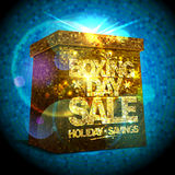 Boxing day sale design with golden gift box Royalty Free Stock Image