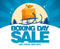 Boxing day sale design with sled. Royalty Free Stock Photos